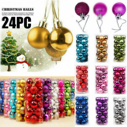 24 Pcs Christmas Tree Balls For Home Party Decoration - christmasgiftbuy