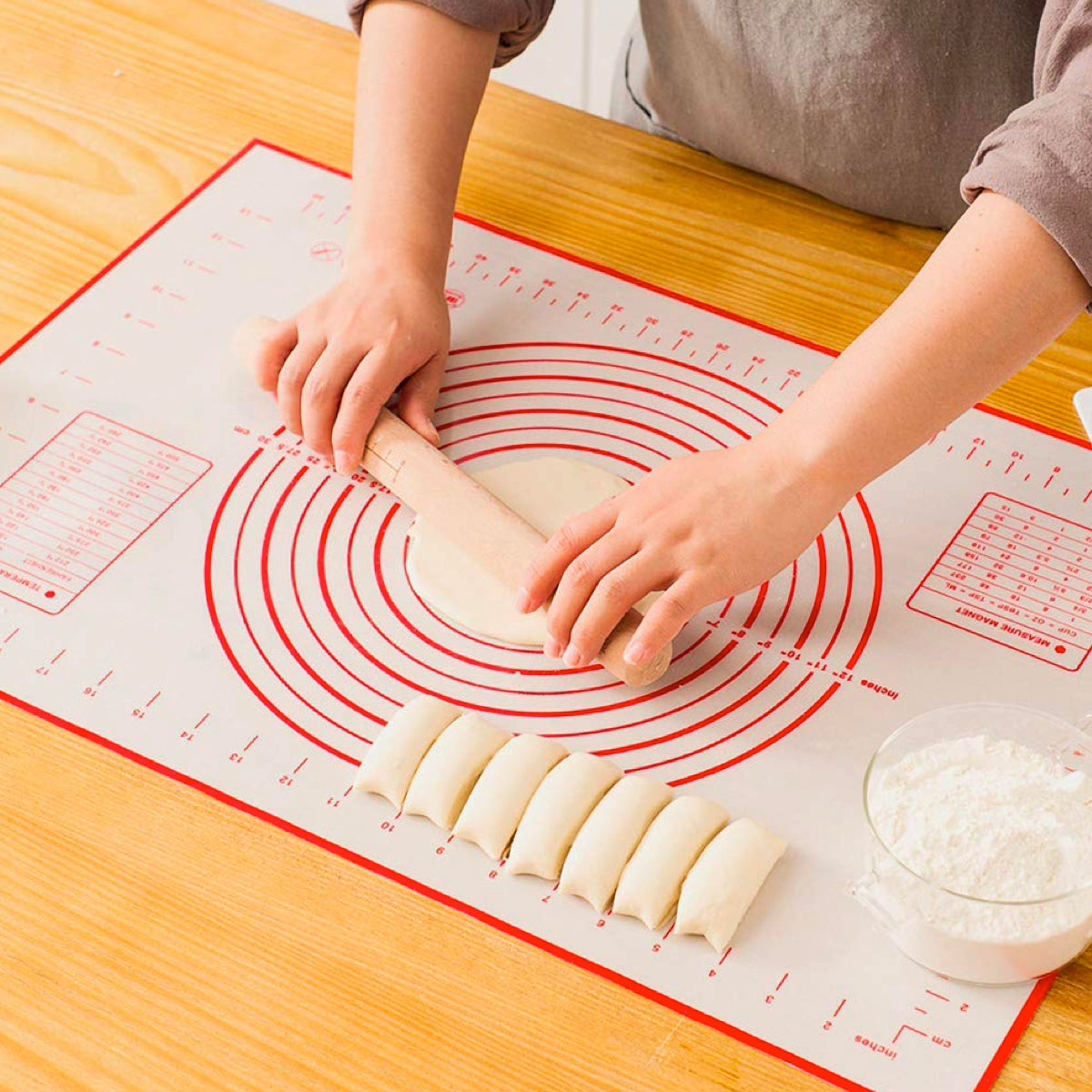 Large Silicone Pastry Mat Extra Thick Non Stick Baking Mat with Measurement Fondant Mat, Counter Mat, Dough Rolling Mat, Pie Crust Mat