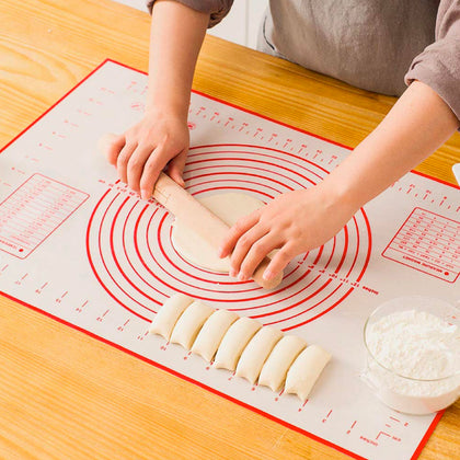 Large Silicone Pastry Mat Extra Thick Non Stick Baking Mat with Measurement Fondant Mat, Counter Mat, Dough Rolling Mat, Pie Crust Mat - christmasgiftbuy