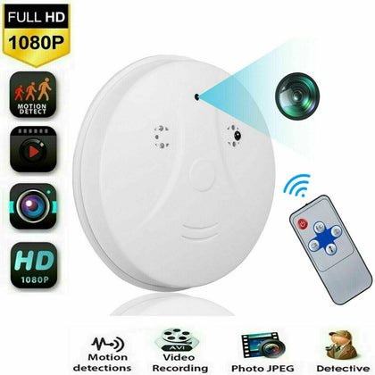 1080P Mini Spy HD Camera Hidden Smoke Detector Motion Detection Nanny Cam DVR