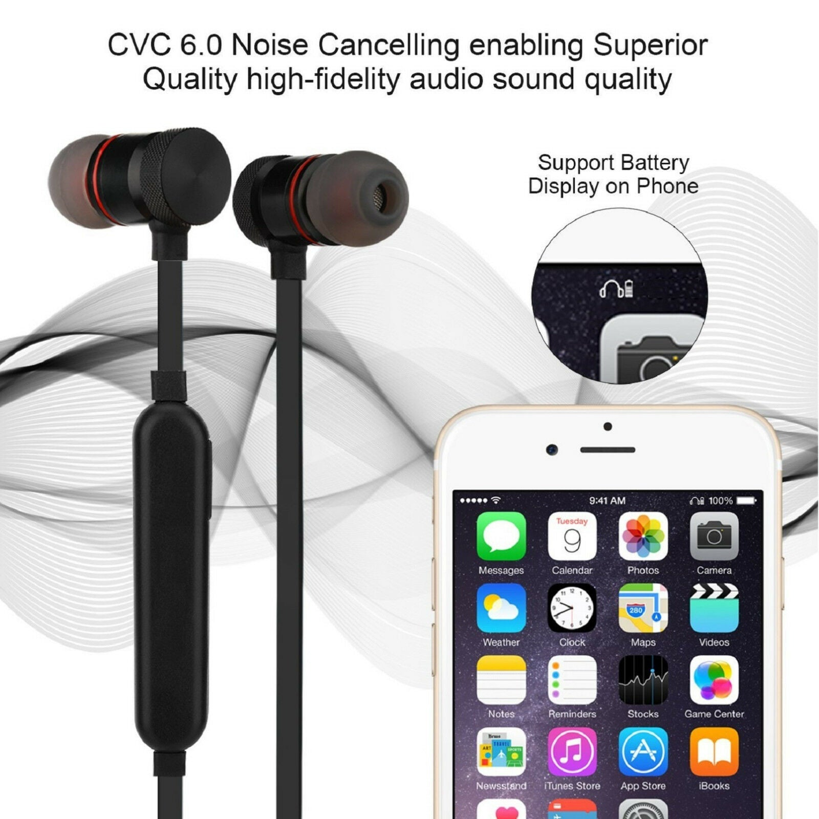 Wireless Bluetooth v4.1 In-Ear Stereo Sweat-Proof Sport Headphones with Magnetic Lock