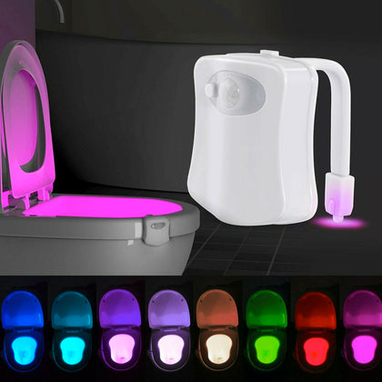 Bowl Bathroom Toilet Night LED 8 Color Lamp Sensor Lights Motion Activated Light - christmasgiftbuy
