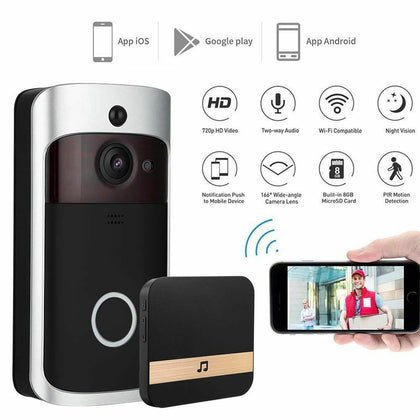Smart Wireless WiFi Doorbell HD Camera Video Phone Intercom + Ding Dong Bell - christmasgiftbuy