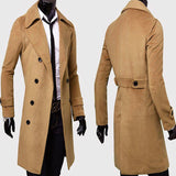 Mens Gentlemen Winter Warm Wool Double Breasted Long Overcoat Trench Coat Jacket Outwear