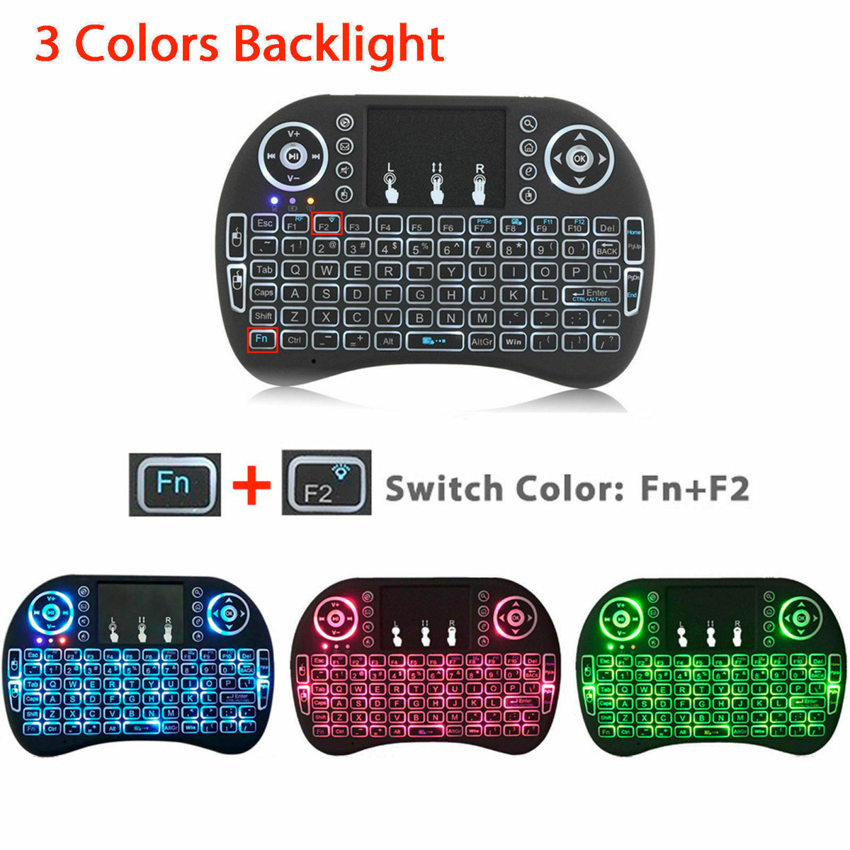 Mini Wireless 2.4GHz Multimedia Keyboard with Touchpad 3 Color changing
