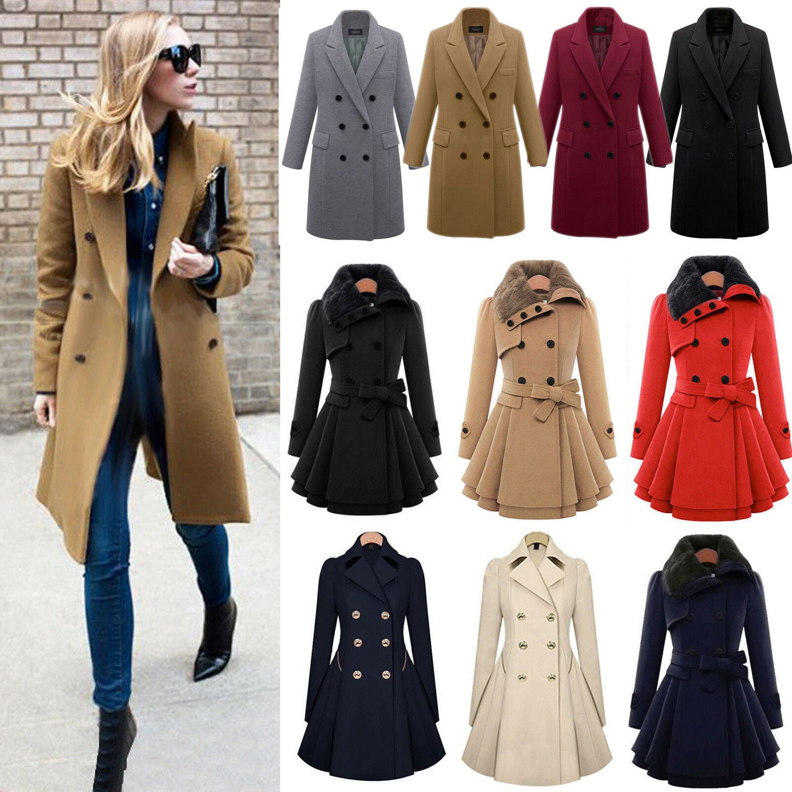 Women Winter Warm Slim Suit Long Peacoat Coat Trench Outwear Jacket Overcoat Dress Sweater