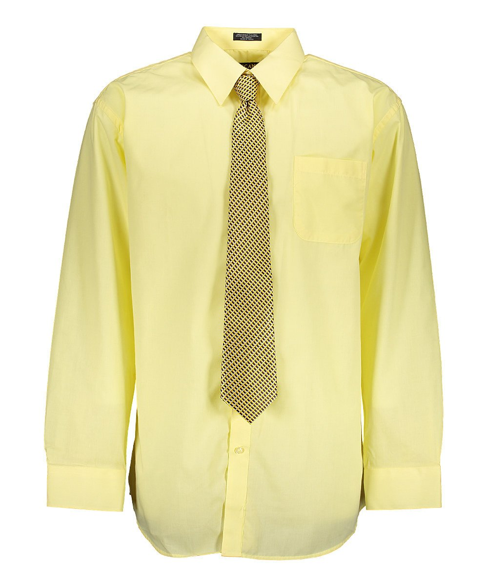 Men's Lemon Dress Shirt With Mystery Tie Set Regular-Fit Solid Long Sleeve -All Sizes