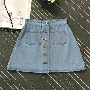 Summer Womens Ladies A-line Pencil Jeans Skirt Front Button High Waist Denim Small Pockets Skirt Black White Four Colors