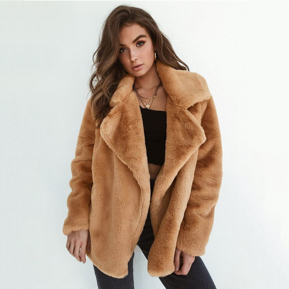 Winter Soft Plush Slim Women Jackets Turn Down Collar Warm Loose Casual Streetwear Clothing Female Pink Black Light Brown Coats