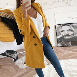 Oeak Wool Coat Blend Jacket Women New Style Long Sleeve Solid Outwear Warm Autumn Winter Wool Woman Coat 3XL Plus Size Coat Hot