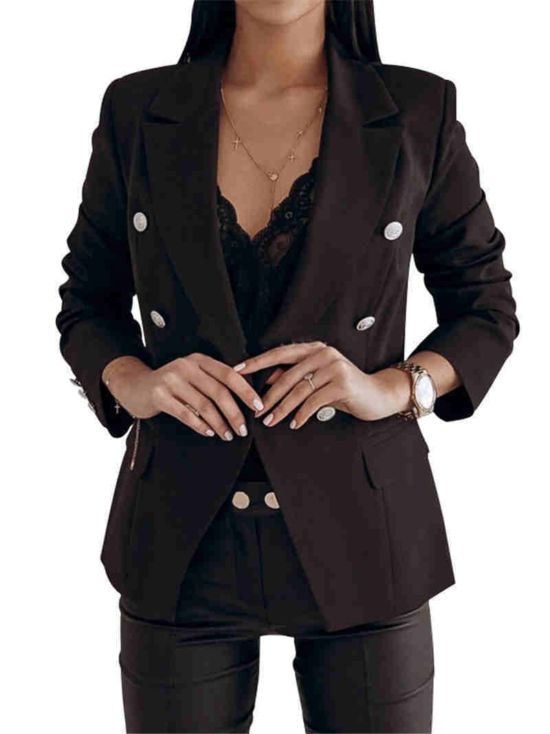 Women Black Red Color Suit Blazer Jacket Fashion Long Sleeve Coat Women Elegant Double Breasted Jacket Suits Female Ladies