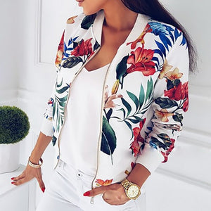 CYSINCOS 2019 New Fashion Floral Printed Women Short Jacket Casual Tops Zipper Bomber Streetwear Autumn Ladies Loose O-Neck Coat