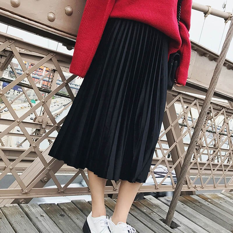 New 2019 Autumn And Winter High Waisted Skinny Female Velvet Skirt Pleated Skirts Pleated Skirt Free Shipping