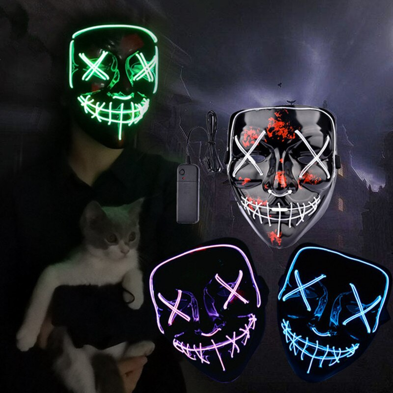 Led Mask Halloween Party Masque Masquerade Masks Neon Maske Light Glow In The Dark Mascara Horror Maska Glowing Masker Purge