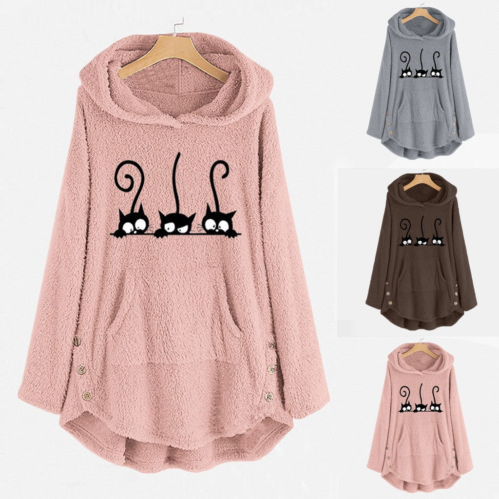 Womens Winter Plush Warm Coat Fleece Cat Embroidery Warm Hoodie Top Plus Size Button Lady Pocket Outwear Long Pullover NEW