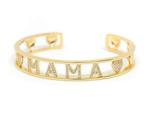 Gold and Crystal Heart MAMA Cuff - Sweet Teens Shop
