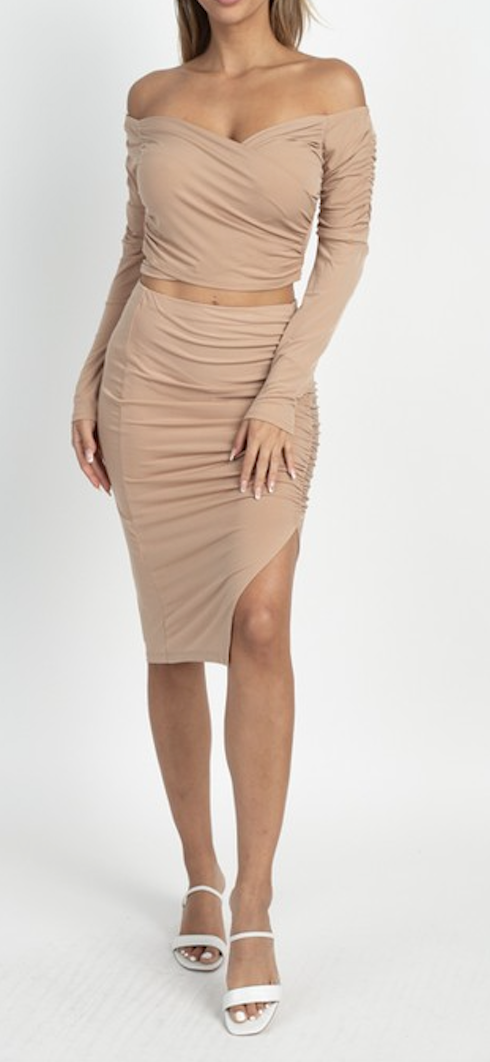 The Glenda Crop Top Midi Skirt Set - TrendyThredz