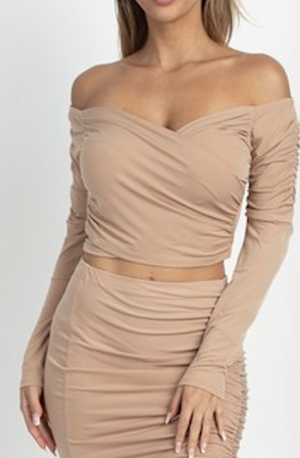 The Glenda Crop Top Midi Skirt Set - Sweet Teens Shop