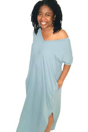 Mandy Maxi Dress (Blue Grey) - TrendyThredz