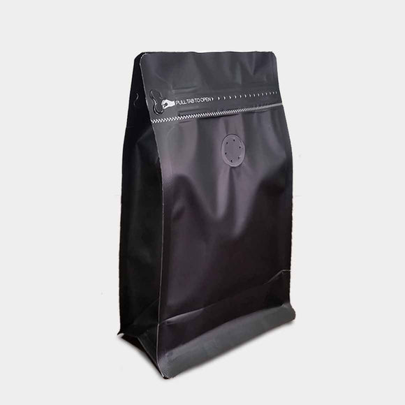 Black coffee gusset bag quad seal with zip lock