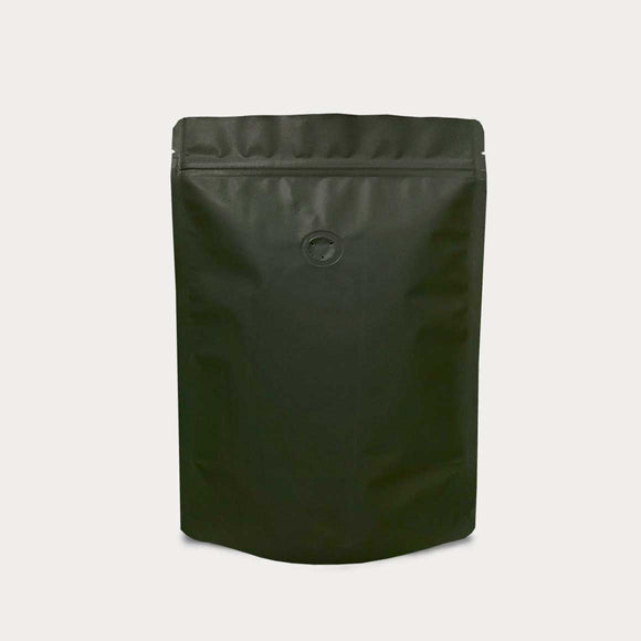 Black coffee bag stand up pouch with zip lock