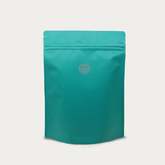 Blue green coffee bag stand up pouch with zip lock