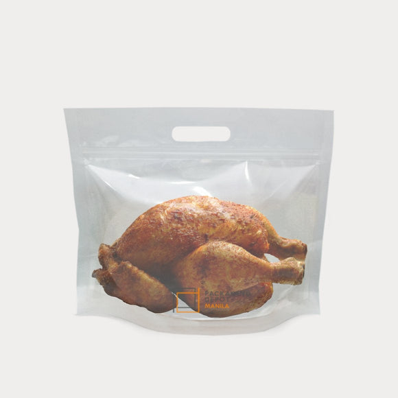 Roast chicken packed in a transparent chicken bag