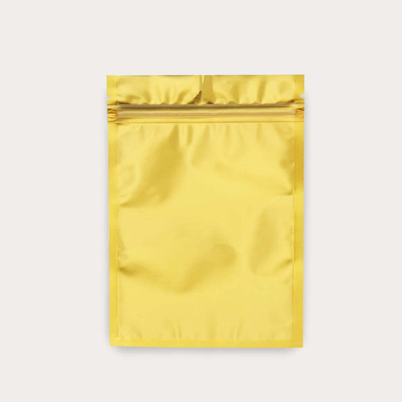 Gold flat pouch with transparent front