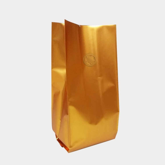Gold coffee gusset bag side seal