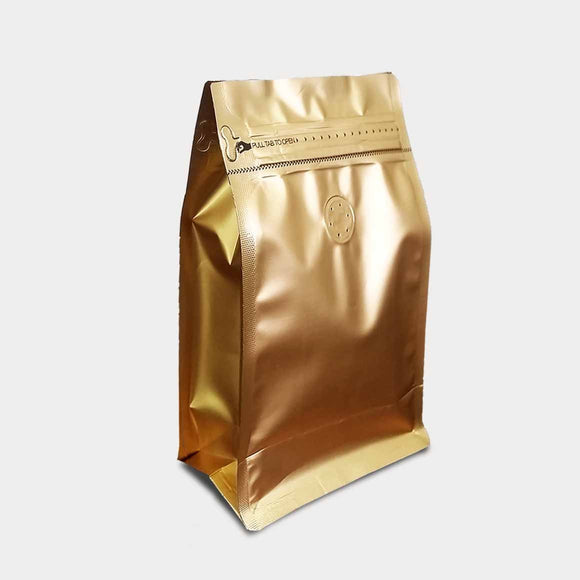Gold coffee gusset bag quad seal with zip lock