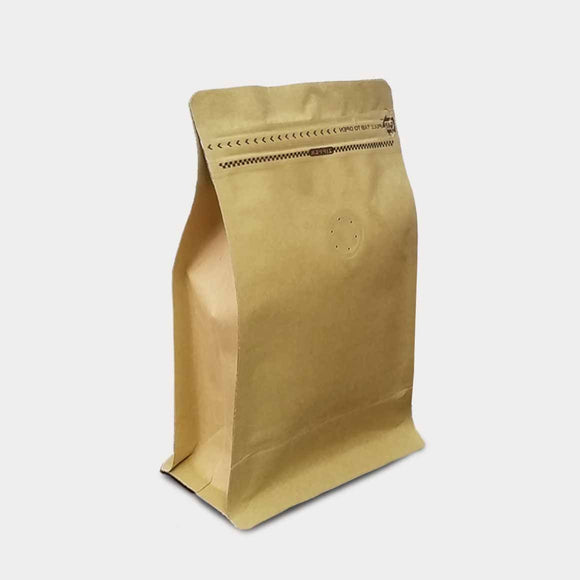 Kraft coffee gusset bag quad seal with zip lock