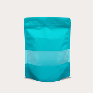 Blue green stand up pouch window matte