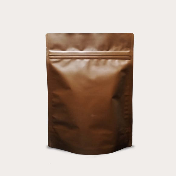 Stand up pouch brown aluminum with zip lock