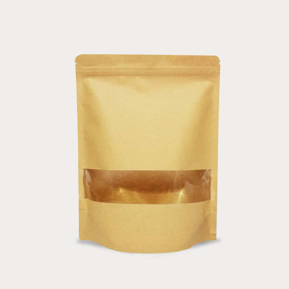 Brown kraft stand up pouch window gloss