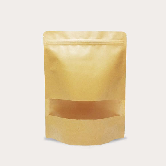 Brown kraft stand up pouch window matte