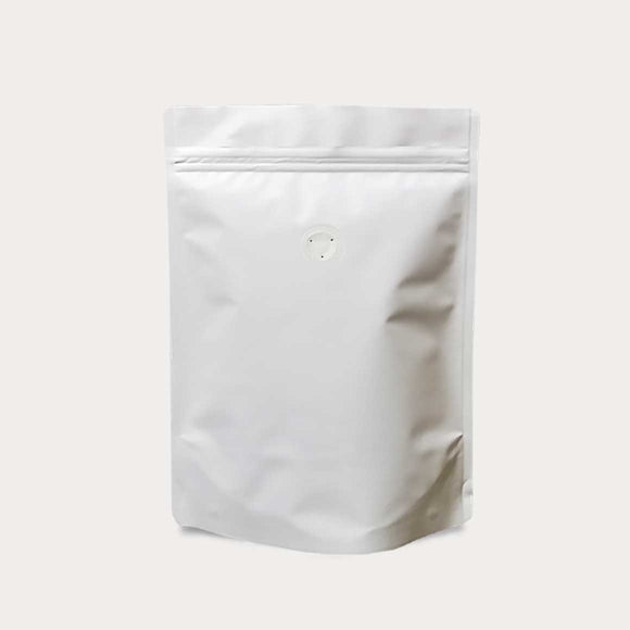 White coffee bag stand up pouch with zip lock