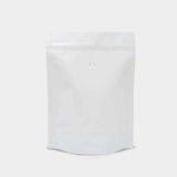 White kraft coffee bag stand up pouch with zip lock