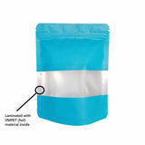 Blue stand up pouch window vmpet layer illustration