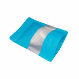 Blue stand up pouch window foil left side view