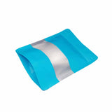 Blue stand up pouch window foil right side view