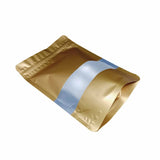 Gold stand up pouch window foil left side view