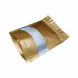 Gold stand up pouch window foil right side view