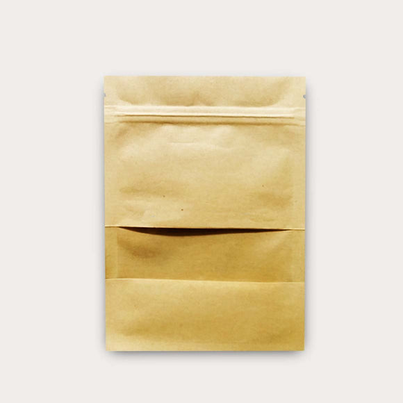 Kraft paper flat pouch with window front view