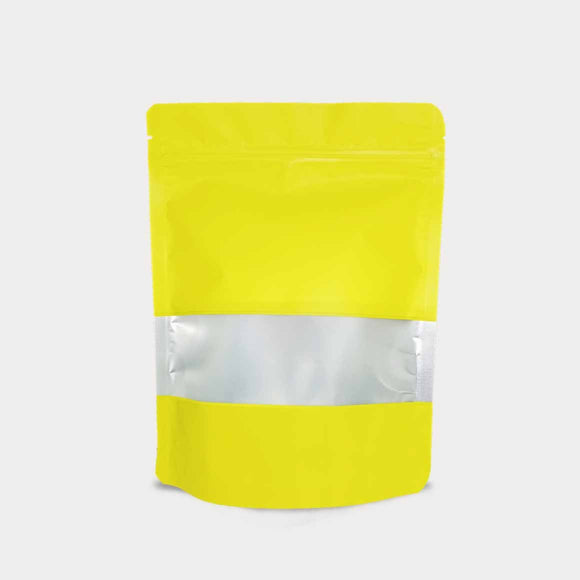 Yellow stand up pouch window with vmpet
