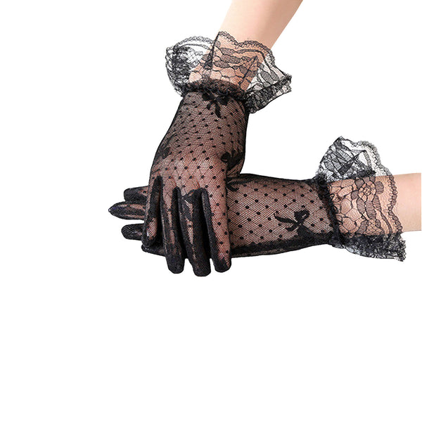Vintage Style Lace and Polka Dot Mesh Gloves