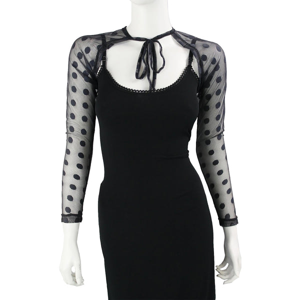 Black Polka Dot Stretch Mesh Shrug