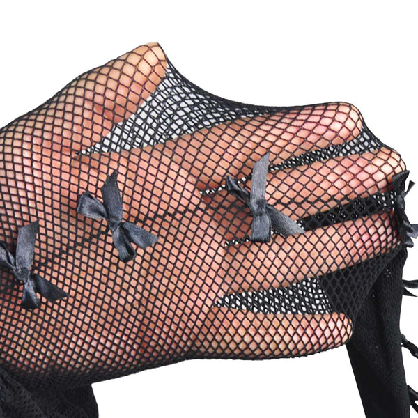 Black Fishnet Stockings With Black Bows Down The Seams