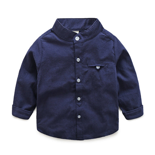 Full Sleeve Plain Navy Neck Shirt for Boys - shopfils.com
