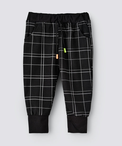 Babyqlo Full Length Black Checks pattern Lounge Pant
