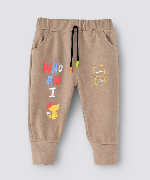 Babyqlo Who Am I printed Full Length Jogger Pants